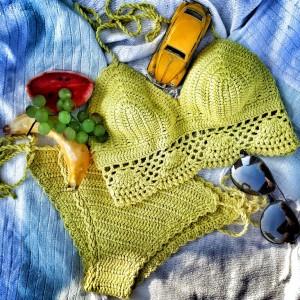Sarı Dantelli El Örgüsü Bikini