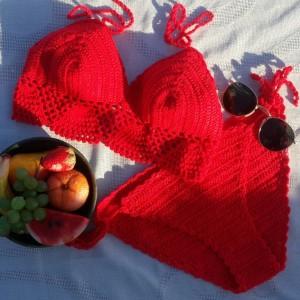 Kırmızı Dantel El Örgüsü Bikini