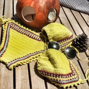 Sarı Mavi Bordo Bikini